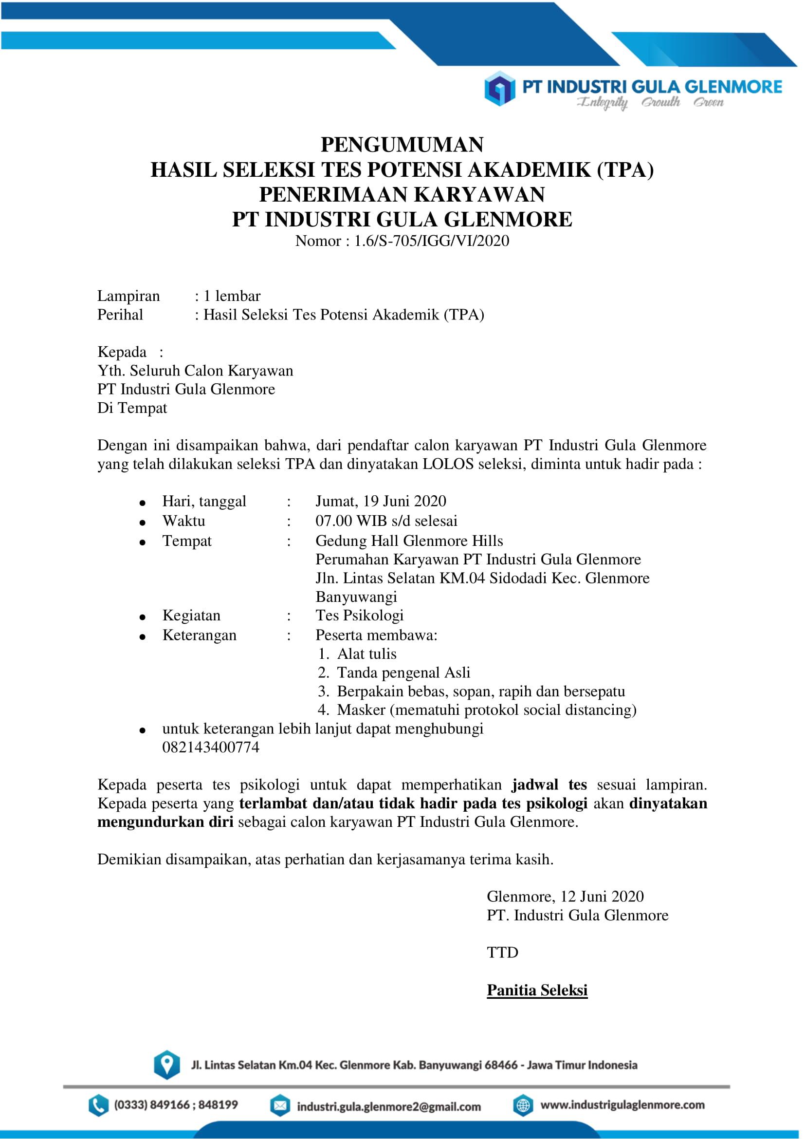 Pengumuman Hasil Tes TPA Rekrutmen Karyawan PKWT Tahun 2020
